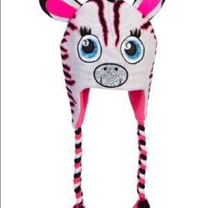 Zebra critter knit ear flap hat